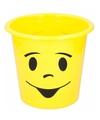 Prullenbakje geel met gezichtje