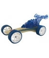Raceauto donkerblauw bamboe speelgoed auto 8 cm