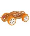 Raceauto oranje bamboe speelgoed auto 8 cm