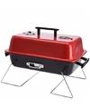 Rechthoekige barbecue rood zwart 28 x 43 cm met deksel