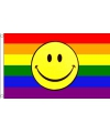 Regenboog smiley vlag 90 x 150 cm