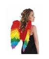 Regenboog veren verkleed vleugeltjes 50 cm