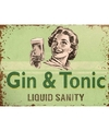 Retro muurplaatje gin tonic liquid sanity 15 x 20 cm