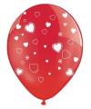 Rode ballonnen met hartjes 6 stuks