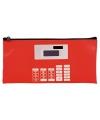 Rode etui met rekenmachine