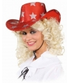 Rode glitter cowboyhoed met sterren