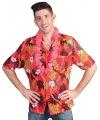 Rode hawaii blouse met tropische print