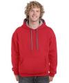 Rode hoodie met grijze capuchon