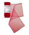 Rode organza stof op rol 12 x 300 cm