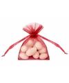 Rode organza zakjes 10 cm