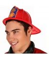 Rode plastic brandweer helm