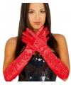 Rode plooi gala handschoenen voor volwassenen