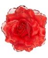 Rode roos haarbloem met glitters