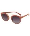 Ronde aviator zonnebril woodlook lichtbruin