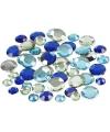 Ronde plak diamantjes blauw mix