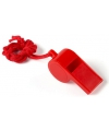 Rood fluitje aan koord