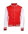 Rood met wit college jacket voor dames