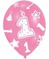 Roze ballonnen 1 jaar 6 stuks