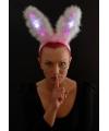 Roze bunny oren met led licht