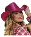 Roze cowboyhoed howdy pailletten voor volwassenen