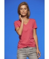 Roze dames stretch t shirt met v hals