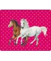 Roze fleecedeken paarden print