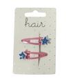Roze haarspeldjes met blauwe sterren 2 stuks