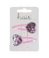 Roze haarspeldjes met glitter hartje
