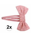 Roze haarspeldjes strik met stippen