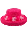 Roze hoed met bloemen