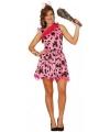Roze holbewoner kostuum voor dames