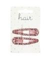 Roze klikklak haarspeldjes met motief 2 stuks