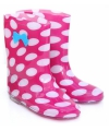 Roze meisjes regenlaarzen met witte stippen