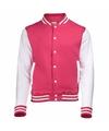 Roze met wit college jacket voor dames
