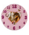 Roze paarden klok 33 cm