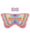 Roze regenboogvlinder verkleedset voor meisjes