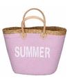 Roze rieten strandtas summer 20 liter