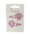 Roze schelpen klikklak haarspeldjes 2 stuks