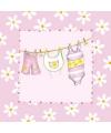 Roze servetten met babykleertjes 20 stuks