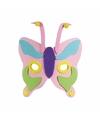 Roze vlinder masker met paarse neus 18cm