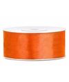 Satijn sierlint neon oranje 25 mm