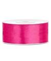 Satijn sierlint neon roze 25 mm