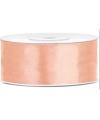 Satijn sierlint perzik kleur 25 mm