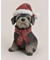 Schnauzer beeldje met kerstmuts