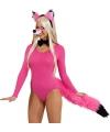 Sexy vossen verkleed set roze
