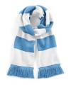 Sjaal met brede streep lichtblauw wit