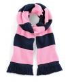 Sjaal met brede streep navy roze