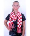 Sjaal rood wit geblokt 160 x 17 cm