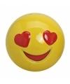 Smiley spaarpot met hartjes ogen 13 cm