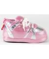 Sneaker sloffen dames roze zilver